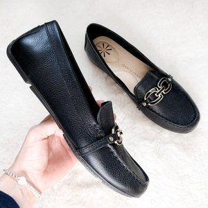 Isaac Mizrahi Black Leather Loafers Moccasins Sz 7
